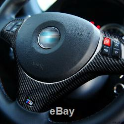Real Carbon Fiber Steering Wheel Cover Trim fit For BMW E90 M3 2007-2012