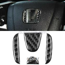 Real Carbon Fiber Steering Wheel Cover Trims Fit For Honda Civic 2016-2020