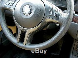 Real Carbon Fibre CF Steering Wheel Trim Cover For BMW E46 E39 E53 X5 3 5 Series