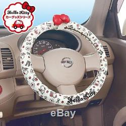 Sanrio Hello Kitty Car Handlebar Handle Steering Wheel Cover withRibbon from Japan