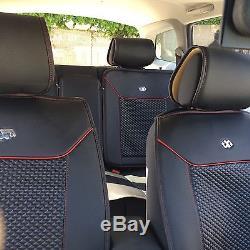 Seat Cover Set Shift Knob Belt Steering Wheel Black PVC Leather Sedan Suv Truck
