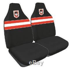 Set 3 St George Dragons Nrl Car Seat Covers Steering Wheel Cover Floor Mats