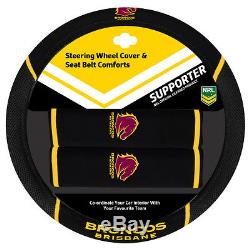 Set Of 2 Brisbane Broncos Nrl Front Car Seat Covers + Steering Wheel Cover