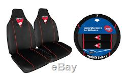 Set Of 2 Sydney Swans Afl Front Car Seat Covers + Steering Wheel Cover