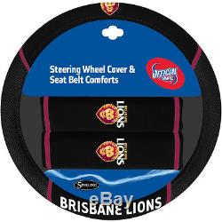 Set Of 3 Brisbane Lions Afl Car Seat Covers + Steering Wheel Cover + Floor Mats