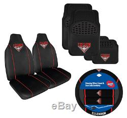 Set Of 3 Essendon Bombers Afl Car Seat Covers Steering Wheel Cover + Floor Mats