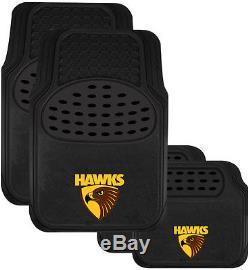 Set Of 3 Hawthorn Hawks Afl Car Seat Covers + Steering Wheel Cover + Floor Mats