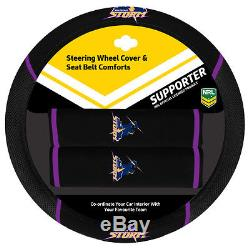 Set Of 3 Melbourne Storm Nrl Car Seat Covers + Steering Wheel Cover + Floor Mats