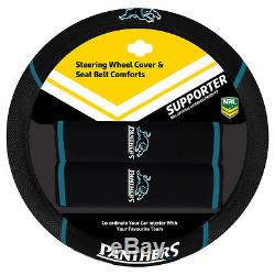 Set Of 3 Penrith Panthers Nrl Car Seat Covers Steering Wheel Cover + Floor Mats