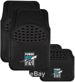 Set Of 3 Port Adelaide Power Afl Car Seat Covers Steering Wheel Cover Floor Mats