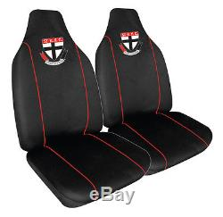 Set Of 3 St Kilda Saints Afl Car Seat Covers + Steering Wheel Cover + Floor Mats