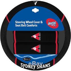 Set Of 3 Sydney Swans Afl Car Seat Covers + Steering Wheel Cover + Floor Mats