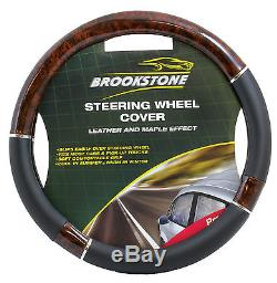 Steering Wheel Cover Black And Maple Wood Leather Look Brand New