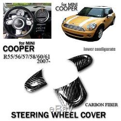 Steering Wheel Cover For Mini Cooper R55 R56 R57 R58 R60 R61 2007- Carbon Fiber