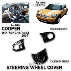 Steering Wheel Cover For Mini Cooper R55 R56 R57 R58 R60 R61 2007- Carbon Fiber
