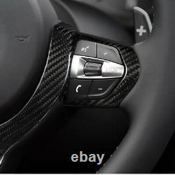 Steering Wheel Cover Trim for BMW M2 M3 M4 M5 X6 X6M Carbon Fiber Black 2014+