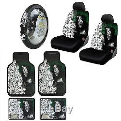 Suicide Squad Joker Car Truck Front Seat Covers Floor Mats Steering Wheel Cover