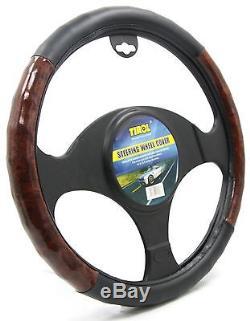 Tirol Luxury Black Brown Wood Pattern Steering Wheel Cover for Cars SUVs Sedans