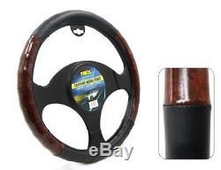 Tirol T12739 Universal Fit Black Brown Wood Pattern PVC Steering Wheel Cover