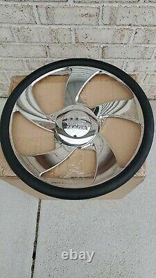 US MAGS Desperado 5 billet steering wheel Authentic black leather wrap