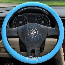 Universal Auto Car Steering Wheel Cover Blue Soft Silicon Skidproof Odorless suv