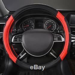 Universal Car Seat Covers Luxury Leather Mesh Black Red Steering Wheel Cover