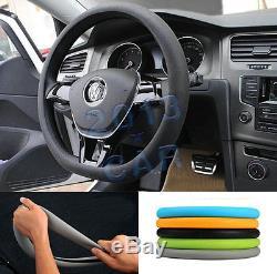 Universal Car Steering Wheel Cover Black Soft Silicon Skidproof Odorless sedan