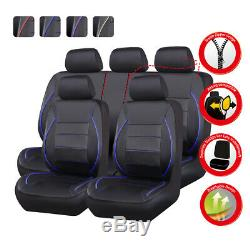 Universal Leather Car Seat Cover Steering Wheel Cover Set Black Red for Sedan