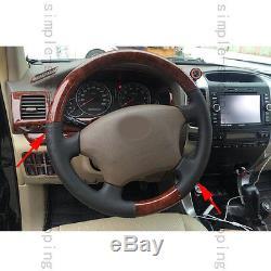 Wood Grain Color Car Steering Wheel Cover Trim For Toyota Prado FJ120 03-09