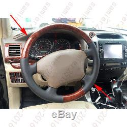 Wood Grain Color Steering Wheel Cover Trim For Toyota LC Prado FJ120 2003-2009